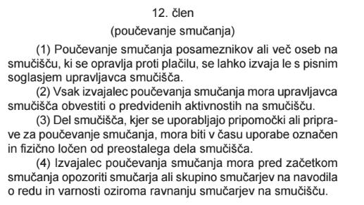 12. člen Zakona o varnosti na smučiščih
