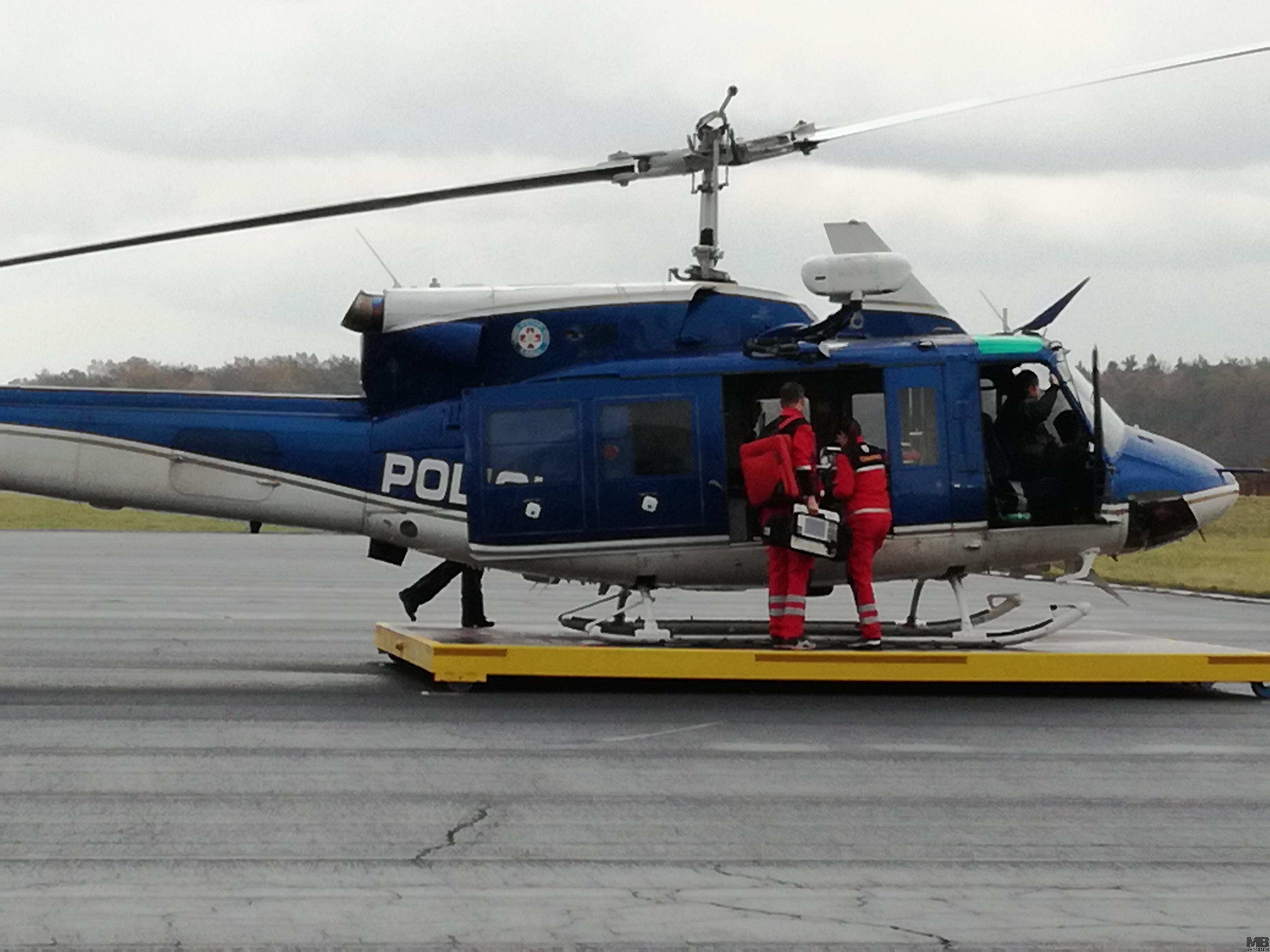 Prva intervencija s helikopterjem za nujno medicinsko pomoč.