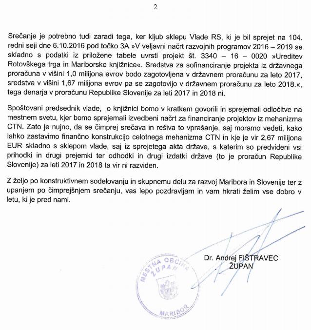 Drugi del odprtega pisma. Vir: MO Maribor