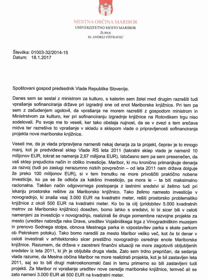 Prvi del odprtega pisma. Vir: MO Maribor