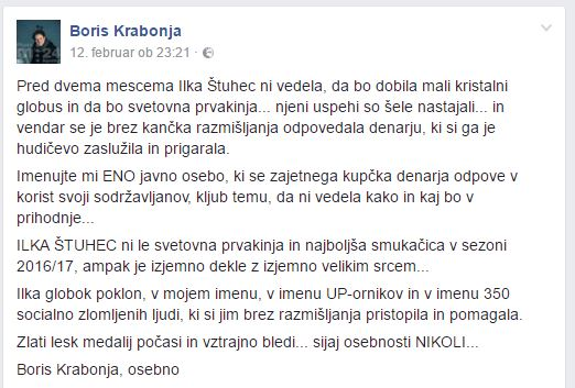 Razmišljanje Borisa Krabonje, Vir: Facebook