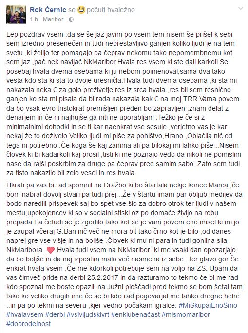 Vir: Rok Černic Facebook