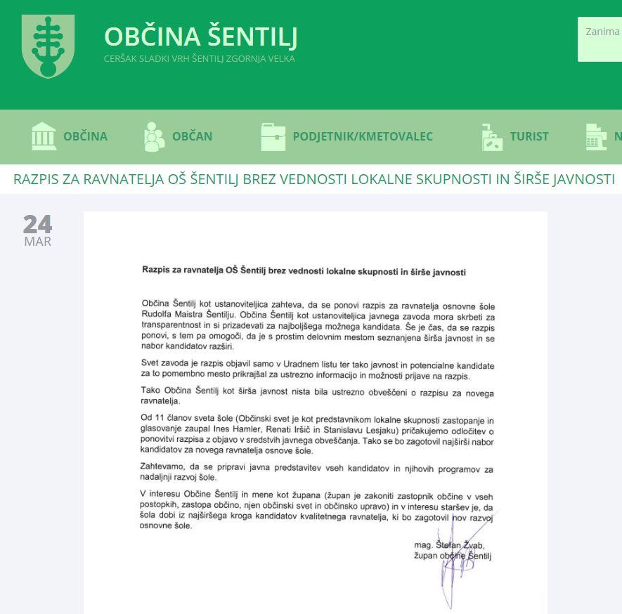 Objava na občinski spletni strani. Vir: sentilj.si
